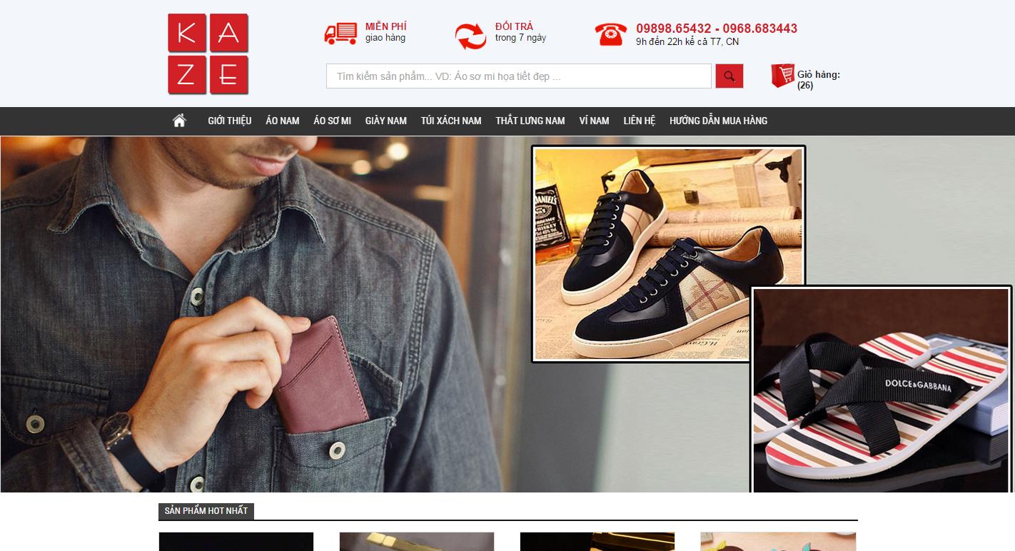 Thiết kế Web shop bán hàng trực tuyến kaze.vn