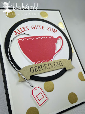 Stampin' Up! -  Auftrag, Teebeutelspender, Tea Bag Dispenser, Vollkommene Momente, A nice Cuppa, Framelits Teestunde, Cups & Kettle Framelits, Fancy Foil Designer Vellum Gold, So viele Jahre, Number of Years, Framelits Circle Collection
