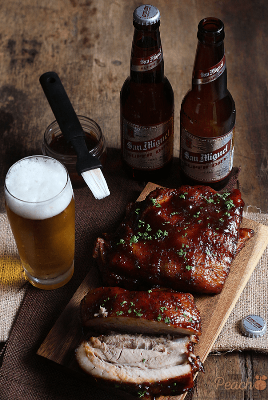 San Miguel Super Dry paired with Smoky Honey Sriracha Ribs