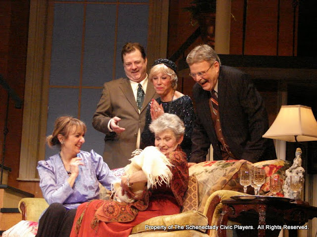 Benita Zahn, Richard Michael Roe, Joanne Westervelt, Patricia Hoffman and Richard Harte in THE ROYAL FAMILY (R) - December 2011.  Property of The Schenectady Civic Players Theater Archive.