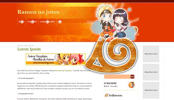 anime blogger template Ramen no jutsu