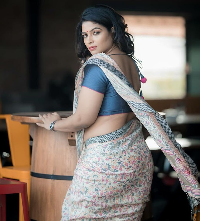 VJ Maheshwar Printed Saree Photoshoot Pic's