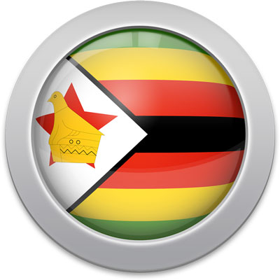 Zimbabwean flag icon with a silver frame