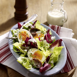 Simple Salad with Eggs and Anchovies.