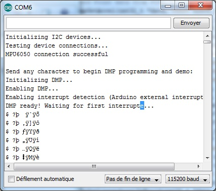 Interruption for Teapot - MPU-6050 6-axis accelerometer