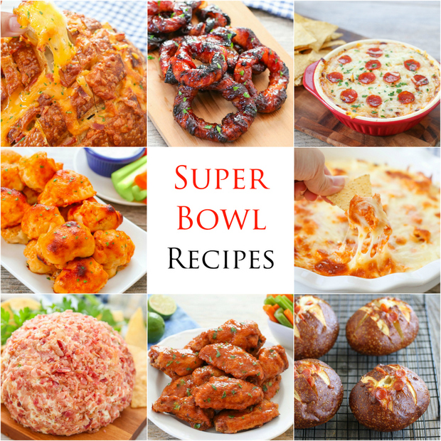 photo collage of different super bowl dishes