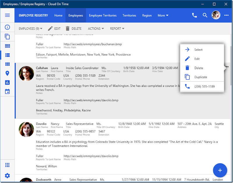 Employee Registry front-end is running in native Universal Windows Platform app Cloud On Time.