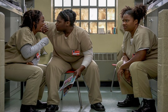 Adrienne C. Moore, Uzo Aduba and Danielle Brooks star in OITNB season 4