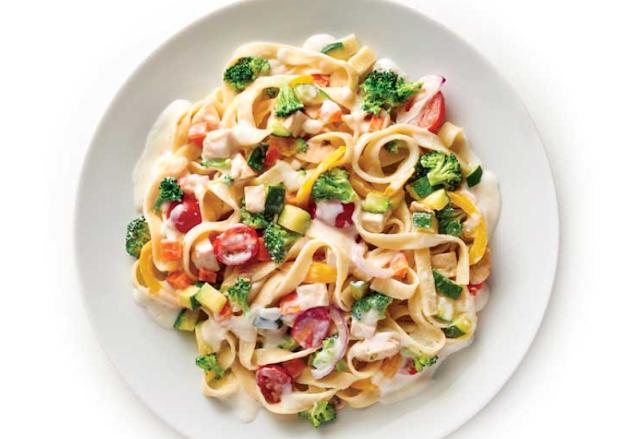 garden vegetables with alfredo pasta