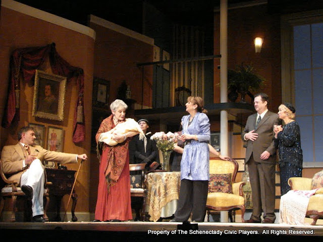 Randy McConnach, Joanne Westervelt, Bonnie R. Lake, Stephanie G. Insogna, Benita Zahn, Richard Michael Roe and Patricia Hoffman in THE ROYAL FAMILY (R) - December 2011.  Property of The Schenectady Civic Players Theater Archive.