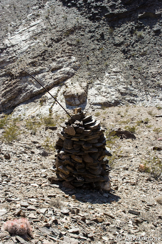 We come across a large rock cairn on our way out; likely a claim marker for the King Midas Mine.