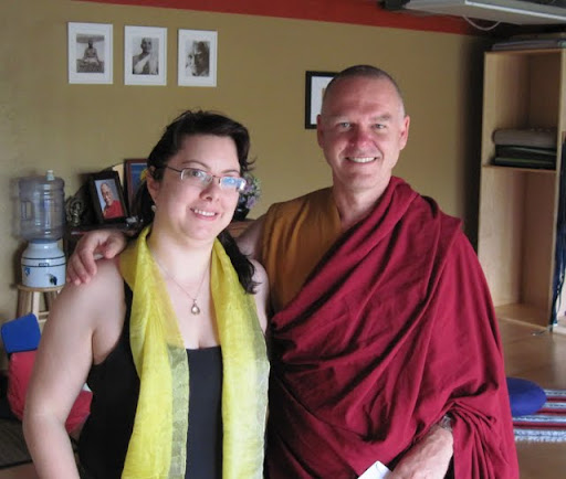 Ven. Rene Feusi with student Julia at Lama Yeshe House Study Group, 2011, Boulder, Colorado, USA.