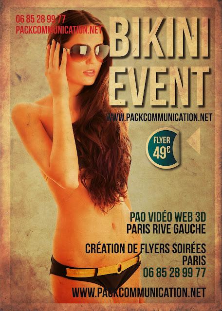 création flyers soirées thème Bikini Event