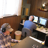 Bill N4SV (foreground) on 20m SSB and Terry W8ZN on V/UHF FM (background)