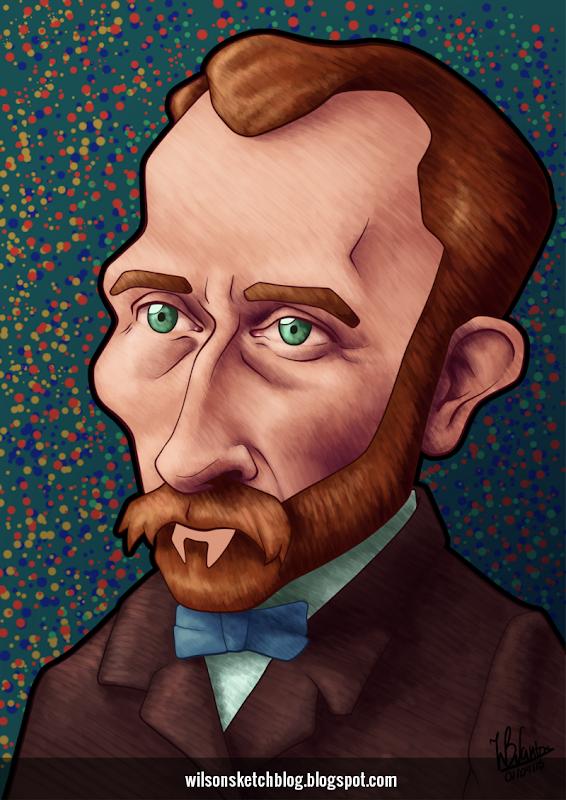 Caricature of Vincent Van Gogh.Caricature of Vincent Van Gogh.