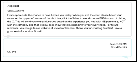 Chat with Frontier which lasted 3 hours 20 minutes