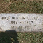 Julia Benbow Gleaves The Gleaves Family Cemetery Cripple Creek, Wythe County, Virginia