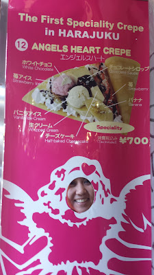 Too full for a crepe at Angels Heart in the Harajuku neighborhood of Tokyo, but I had to pose