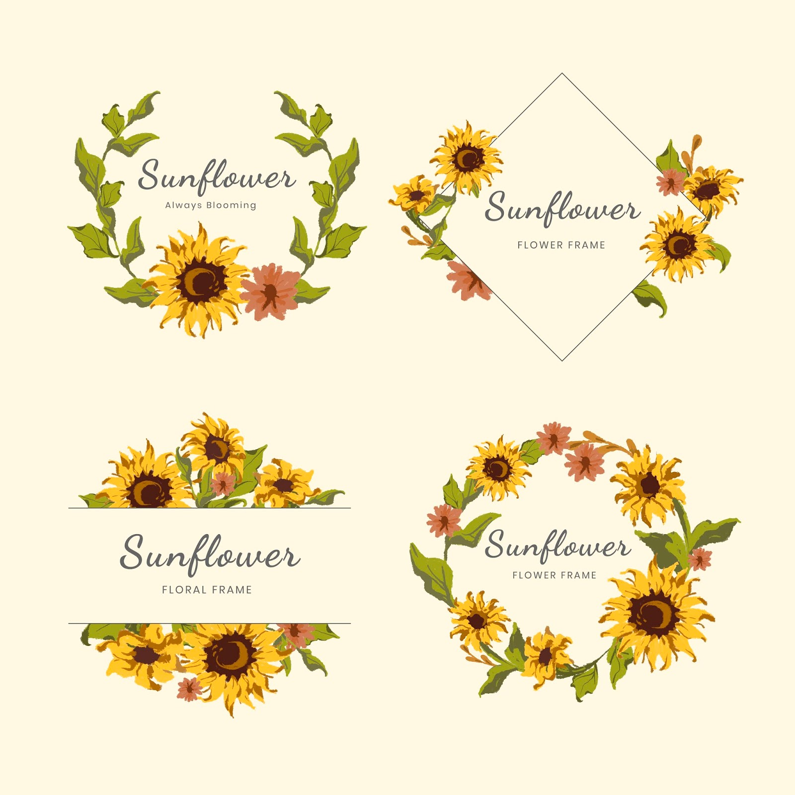 Sunflower Wreath And Badge Vector Set Free Download Vector CDR, AI, EPS and PNG Formats