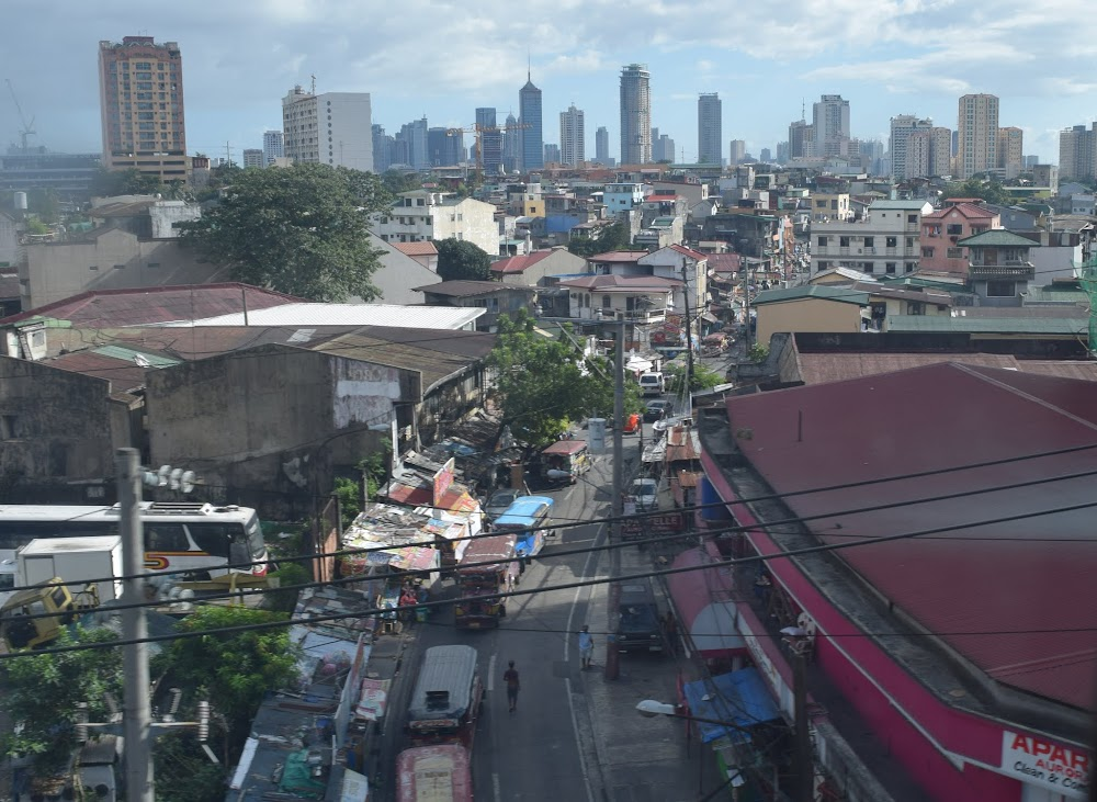 part of the Manila skyline, during the Metro ride