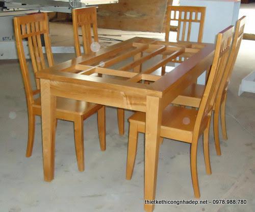 Bàn ăn ghế gỗ tự nhiên xoan đào mặt kính
