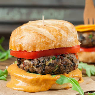 The Ultimate Black Bean Veggie Burgers with Chipotle Honey Mustard.