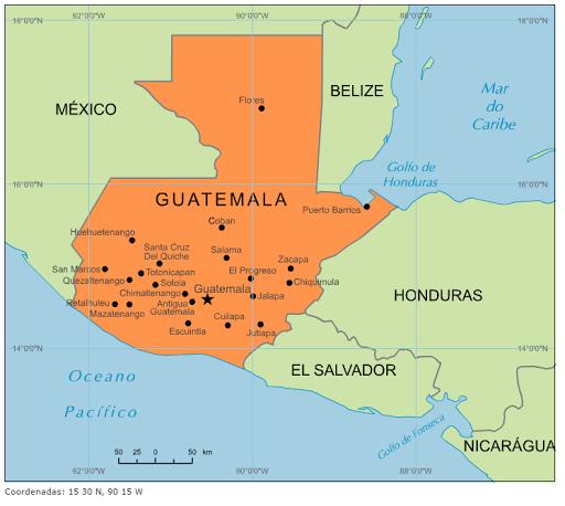 Blog de Geografia: Mapa da Guatemala