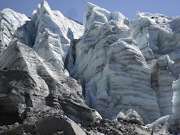 This glaciated ice is from the last ice age... slowly melting away.