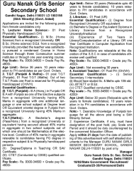 Guru Nanak Girls Senior Secondary School Jobs 2016 indgovtjobs