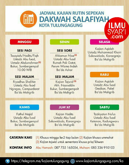 Informasi Jadwal Kajian Sunnah di Tulungagung