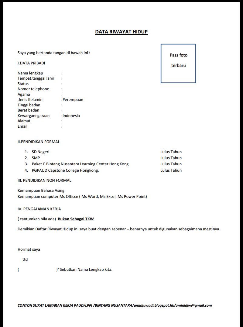 Catatan Amini Contoh Surat Lamaran Kerja Bagi Alumni Paket C