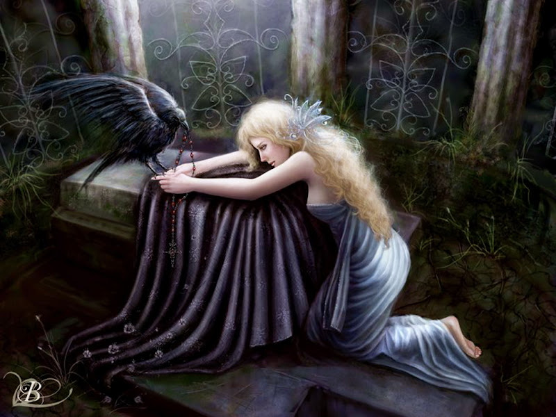 Raven And Blond Fantasy Girl, Ravens