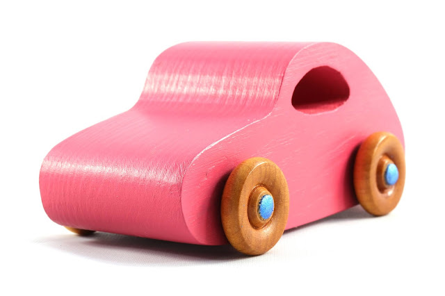 Handmade Wood Toy Car From The Play Pal Series  Based on 1957 VW Bug Pink with Metallic Blue Trim