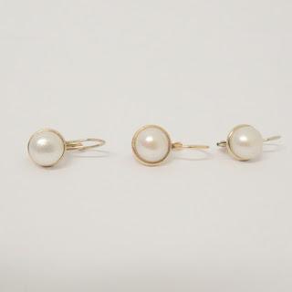 14K Gold & Pearl Earring Set of 3