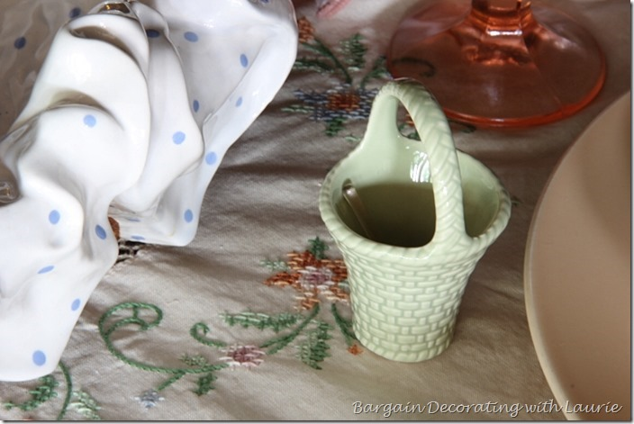 Ceramic basket used for salt cellar-Bargain Decorating with Laurie