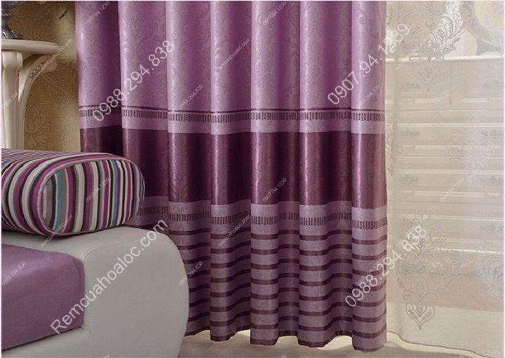Rèm cửa cao cấp đẹp một màu tím diềm 8