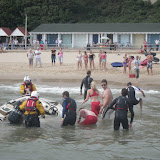 1 September 2012 - the motorboat sits partially submerged.  Photo credit: Poole RNLI/Dave Riley