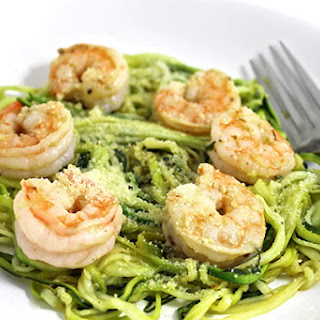 Skinny Shrimp Scampi over Low Carb Zoodles.