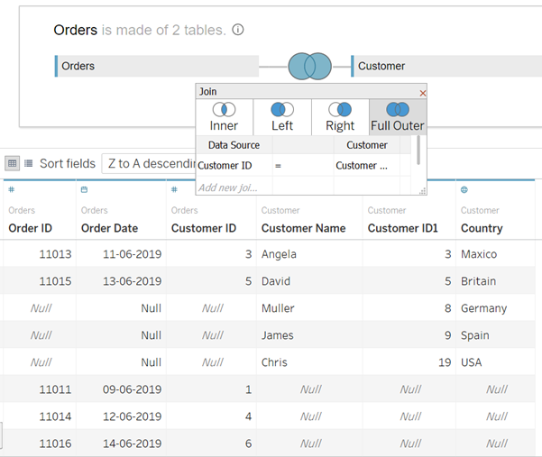 Tableau Full Outer Join