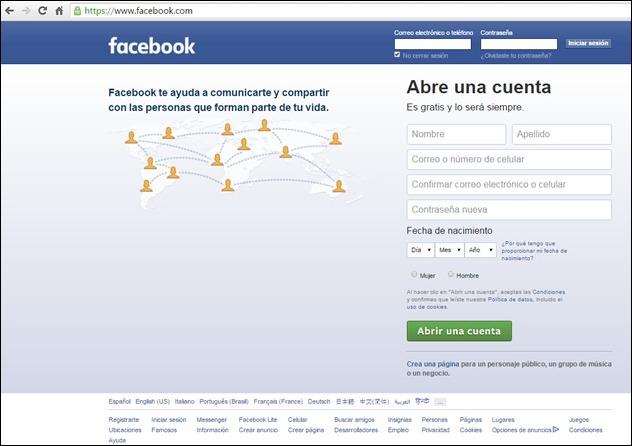 Abrir mi cuenta Facebook - Página de inicio