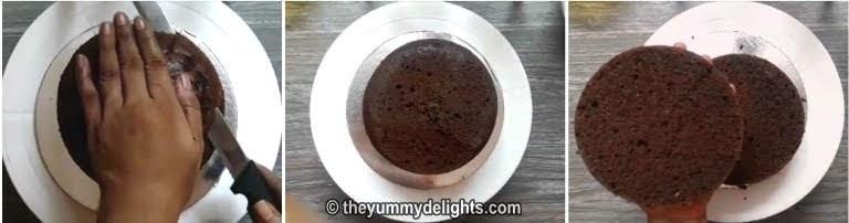 cut the chocolate sponge cake into layers
