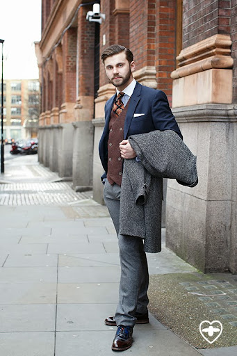 Terry Donovan; founder Sartorial 7; TM Lewin jacket; TM Lewin shirt; River Island waistcoat; H&M shirt; Piere Cardin tie; Reiss trousers; Oliver Sweeney shoes;