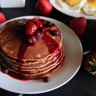 Chocolate Almond Pancakes With Mixed Berry Syrup