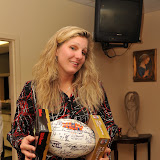 Diane Musil winner of autographed Super Bowl  XLIV ball