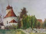 kościół w Przeciszowie, olej, płótno, 50x70 cm