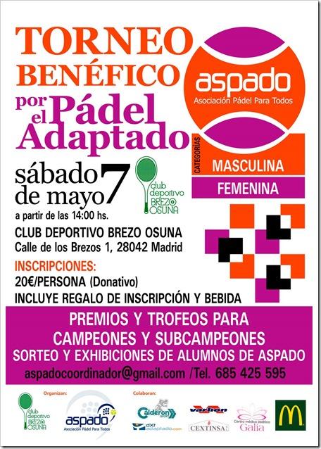 Torneo Benéfico de pádel a favor de ASPADO el 7 mayo 2016 en Madrid. ¡Participa por una buena causa!