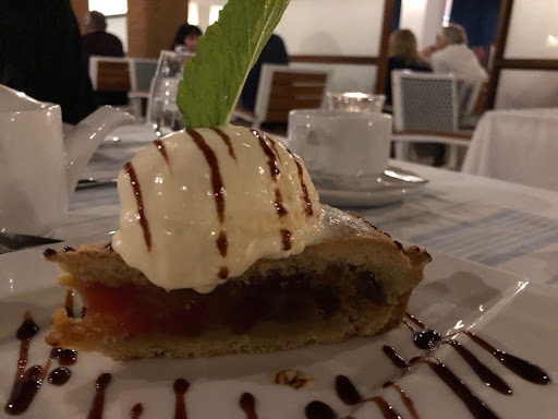 Hot apple pie with caramel ice cream