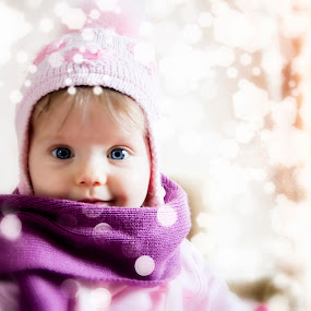 A new year fairy tale by Michael Krivoshey - Babies & Children Child Portraits ( face, big eyes, christmas, children, child portrait, kids, cute, people, newborn, portrait, kid, eyes, child, sweet, girl, winter, ukraine, female, family, looking at camera, blue eyes, adorable, baby )