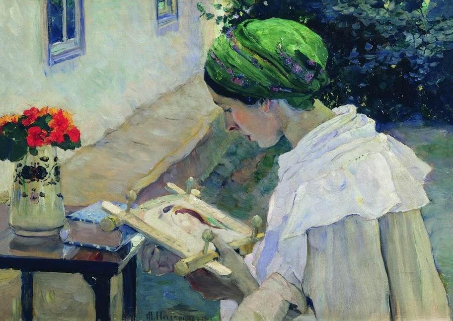 Mikhail Nesterov - Portrait of Ekaterina Nesterova Embroidering