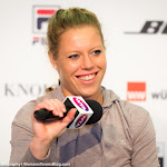 STUTTGART, GERMANY - APRIL 19 : Laura Siegemund talks to the media at the 2016 Porsche Tennis Grand Prix
